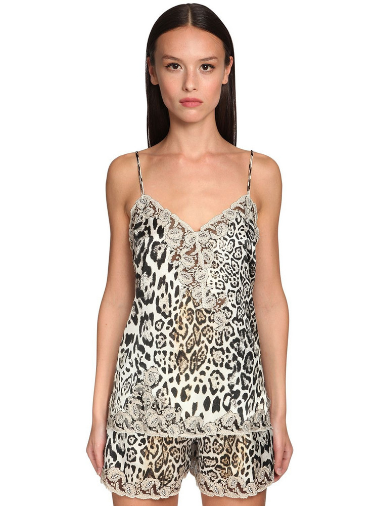 ERMANNO SCERVINO Leopard Print Satin & Lace Camisole