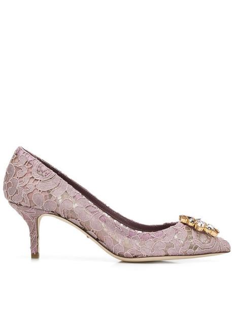 Dolce & Gabbana lace paneled pumps in purple