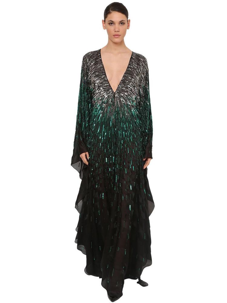 AZZARO Sequin Embellished Silk Chiffon Dress in emerald