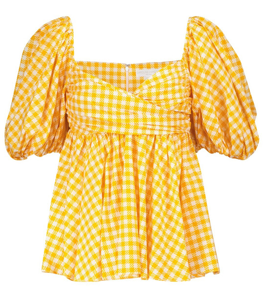 Caroline Constas Brie checked cotton-blend top in yellow