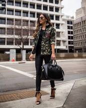 jacket,army green jacket,black sandals,black leather pants,black bag,maxi bag,black top