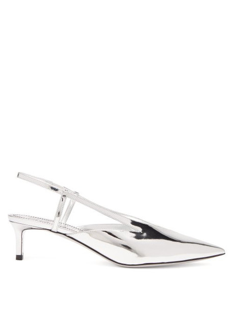 Givenchy - Mirror Kitten Heel Slingback Pumps - Womens - Silver