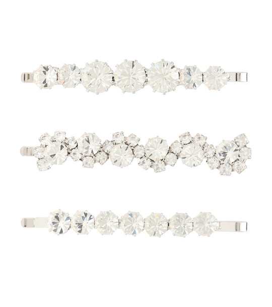 Alessandra Rich Set of 3 crystal hair slides in silver