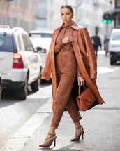 coat,brown coat,leather,high waisted pants,shirt,sandal heels,bag