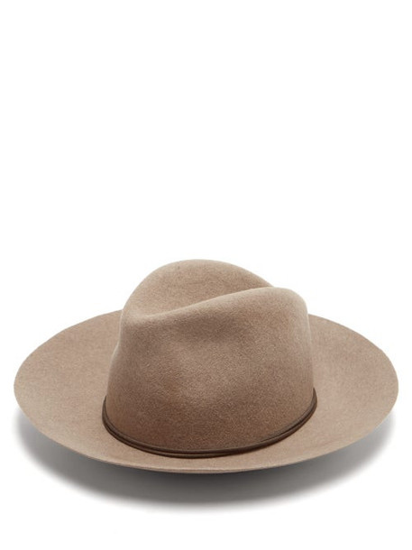 Isabel Marant - Kinly Leather-trimmed Wool-felt Fedora Hat - Womens - Beige