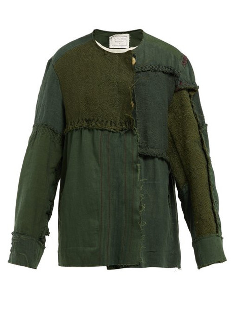 By Walid - Maya Panelled Linen Canvas Jacket - Womens - Green