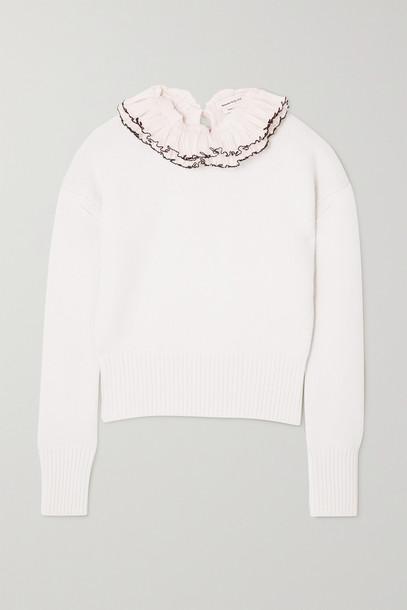 ALEXANDER MCQUEEN - Ruffled Gauze And Wool Sweater - White