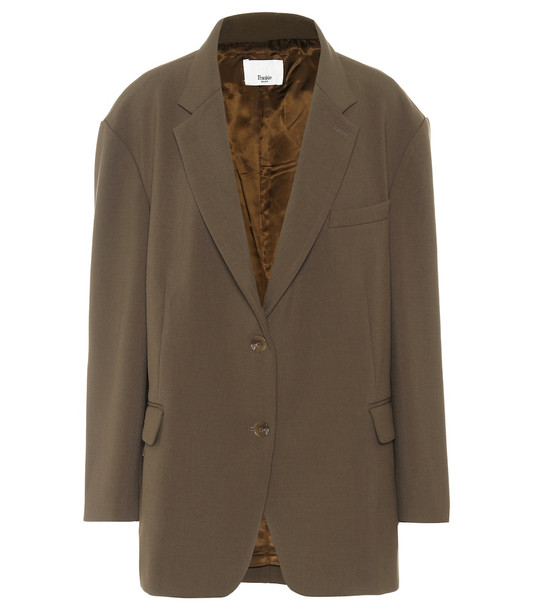 Frankie Shop Bea single-breasted twill blazer in brown
