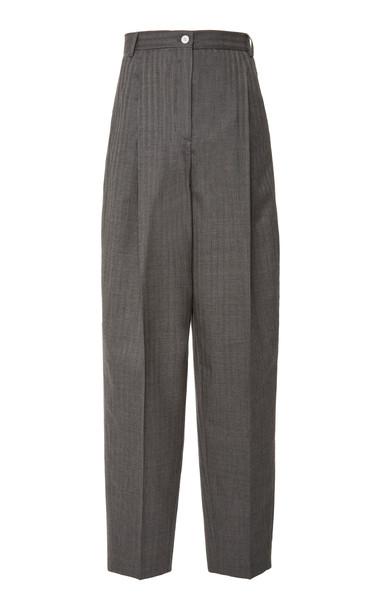 Acne Studios Peggerine Striped Wool Pants Size: 34 in grey