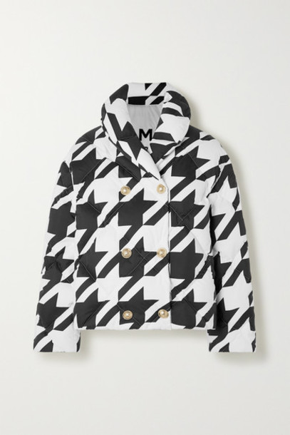 Balmain - Button-embellished Houndstooth Quilted Shell Down Jacket - Black