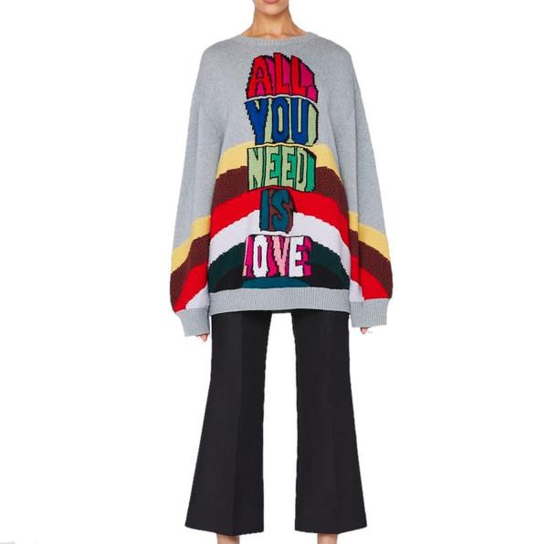 Stella McCartney Wool Jumper All You Need Is Love in grey