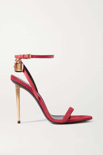 TOM FORD - Padlock Embellished Leather Sandals - Bright pink