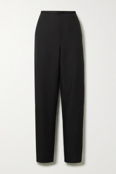 Totême - Naves Satin-trimmed Piqué Straight-leg Pants - Black