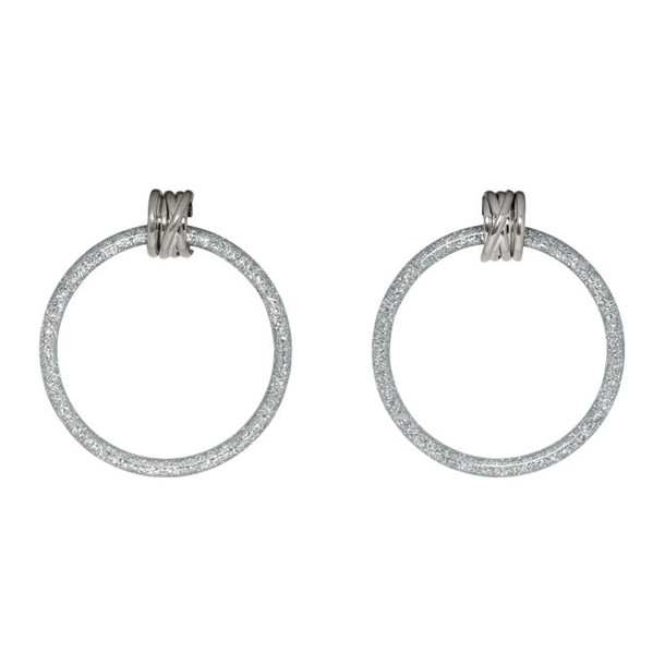 Balenciaga Grey & Silver Medium Hoop Earrings