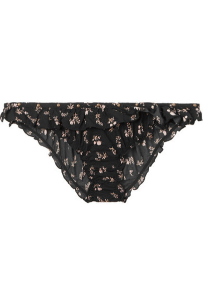 Love Stories - Ivy Studded Ruffled Floral-print Stretch Briefs - Black