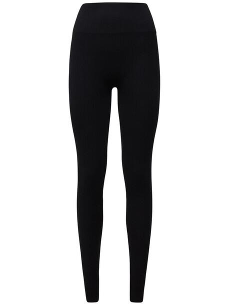 ANDREA ADAMO Ribbed Jersey Stirrup Leggings in black