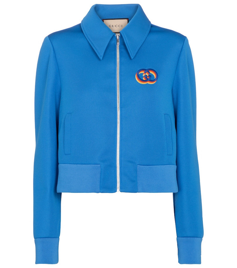 Gucci Embroidered jersey track jacket in blue