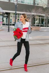 hello fashion,blogger,t-shirt,jacket,jeans,red boots,levi's,denim jacket