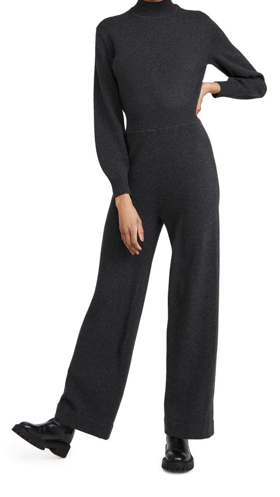 Theory Turtleneck Knit Jumpsuit in charcoal
