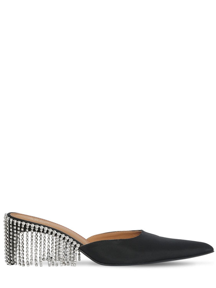 AREA 55mm Crystal Fringe Silk Satin Mules in black