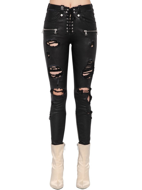 UNRAVEL Destroyed Lace-up Leather Pants in black