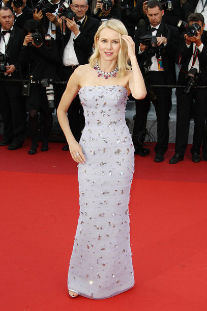 dress gown naomi watts red carpet red prom dress strapless dress beaded dress cannes necklace