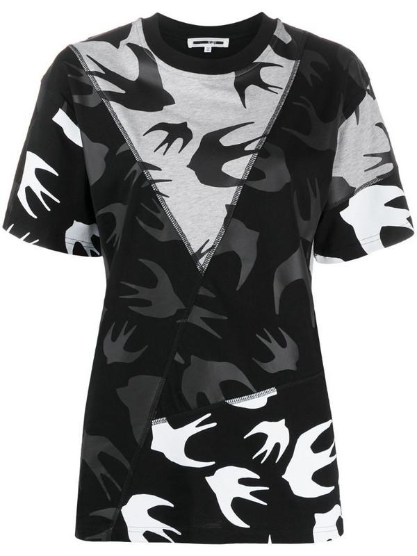 McQ Swallow bird print panelled T-shirt in black