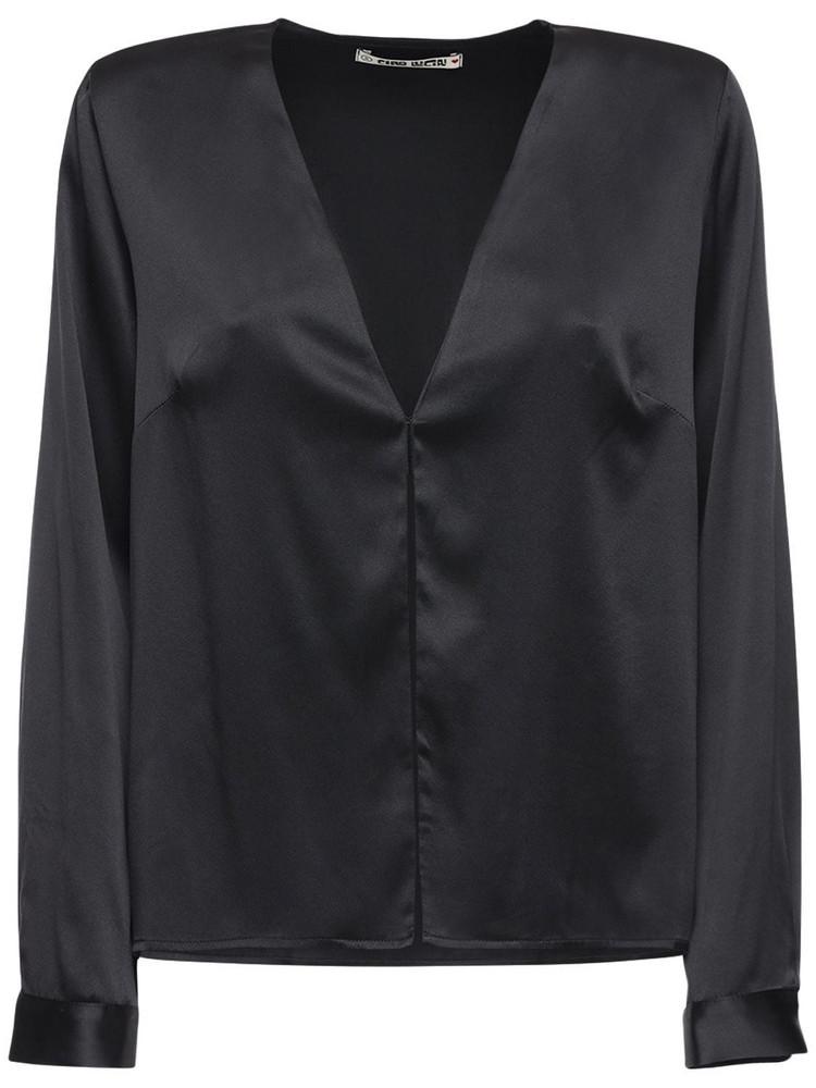 CIAO LUCIA Ludavica Silk Satin Shirt in black