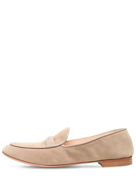 GIANVITO ROSSI 10mm Maxime Suede Loafers in beige