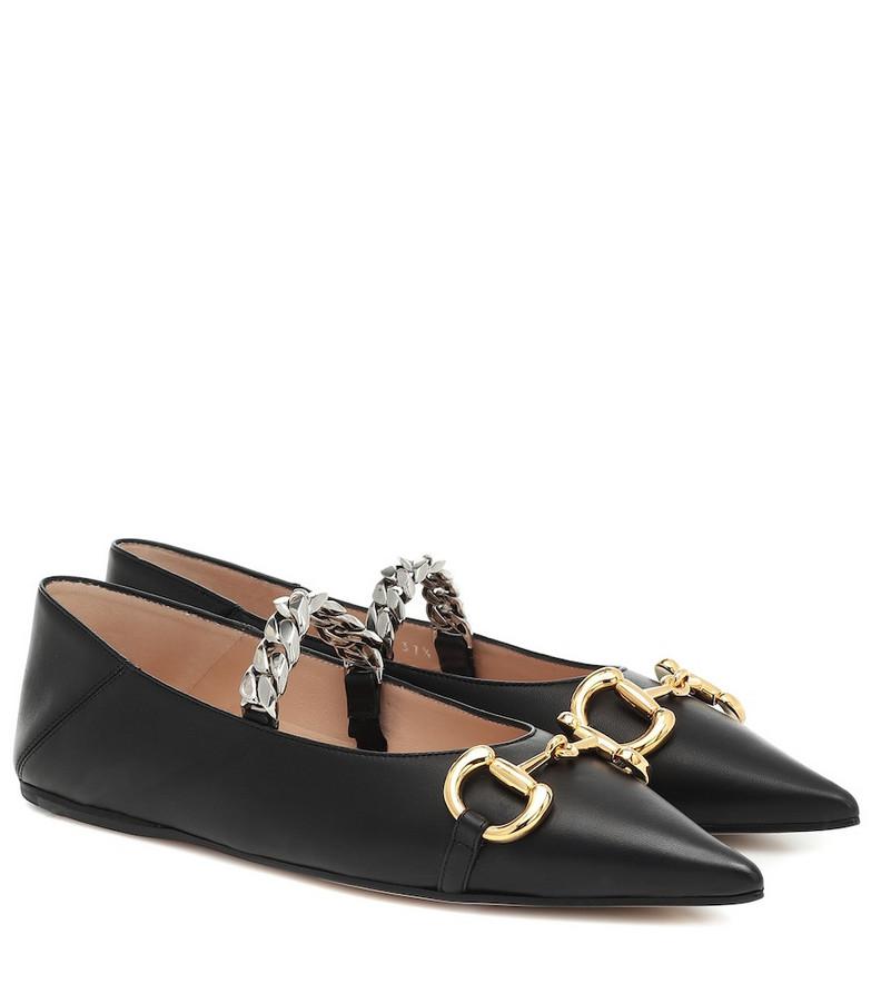 Gucci Horsebit leather ballet flats in black