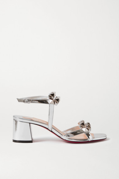 Christian Louboutin - Galerietta 55 Studded Mirrored-leather Sandals - Silver