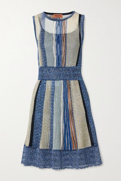 Missoni - Striped Metallic Crochet-knit Mini Dress - Blue