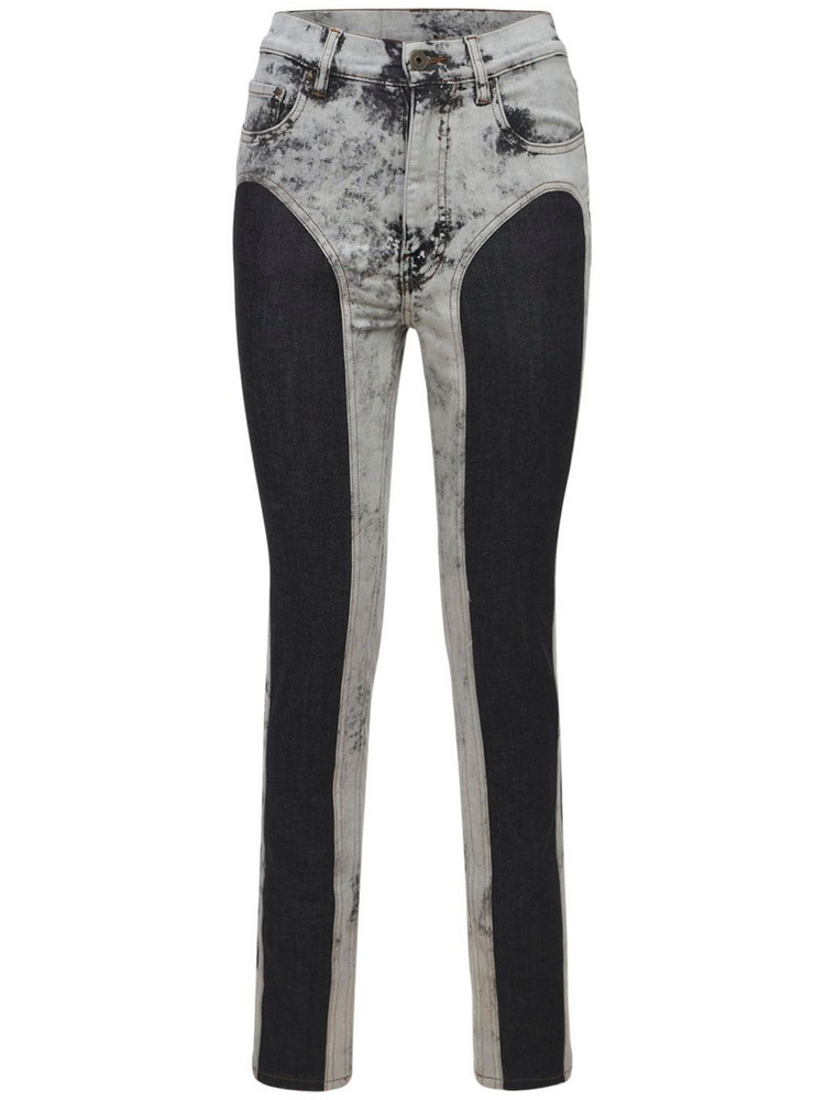 Y PROJECT Two Tone Cotton Denim Leggings in black