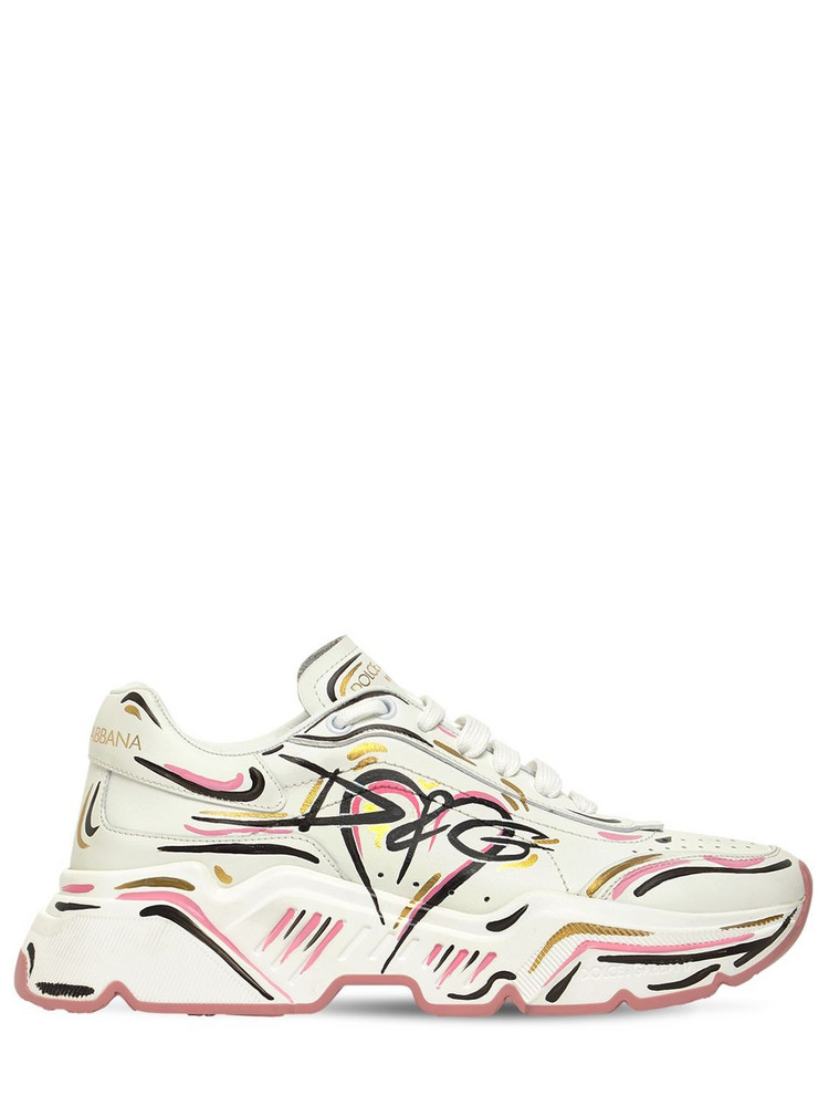 DOLCE & GABBANA 30mm Daymaster Graffiti Leather Sneakers in pink / white