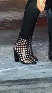 shoes,black caged booties,black booties,black shoes,caged boots,ankle boots