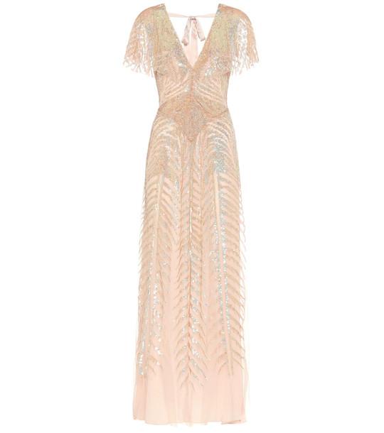 Temperley London Dusk embellished gown in beige