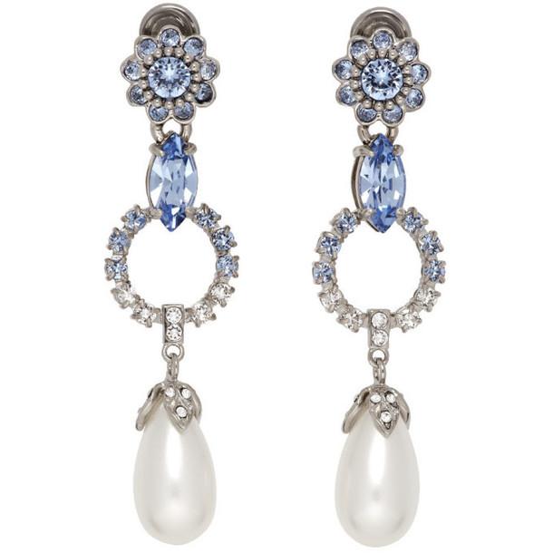 Miu Miu Silver Classic Crystal Earrings