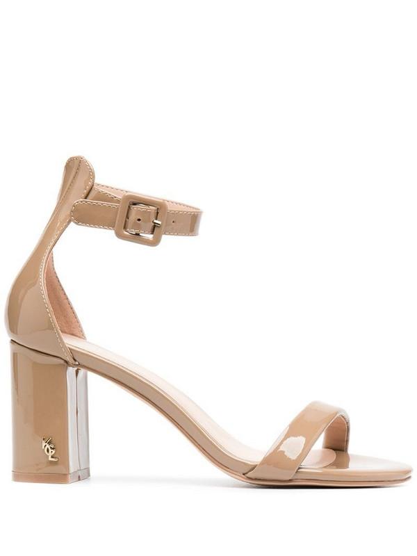 Kurt Geiger London Langley patent high heel sandals in neutrals
