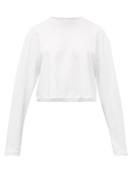 WARDROBE.NYC Wardrobe. nyc - Cropped Long Sleeved Cotton T Shirt - Womens - White