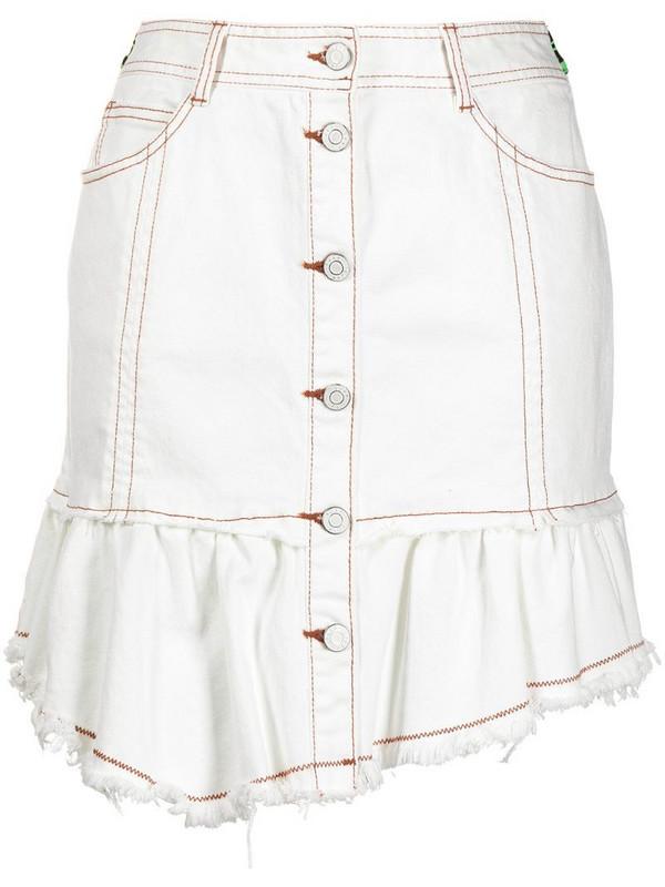 SJYP raw-cut denim mini skirt in white