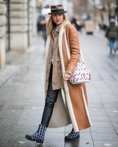 shoes,lace up boots,black leather pants,long coat,suede jacket,brown coat,shirt,white t-shirt,hat,fendi,white bag