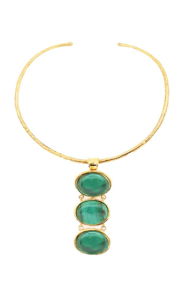 Sylvia Toledano Three Stones 22K Gold-Plated Brass Malachite Necklace in green