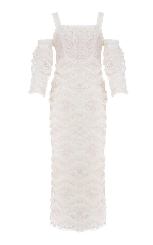 Needle & Thread Tulle Bloom Midi Dress in white