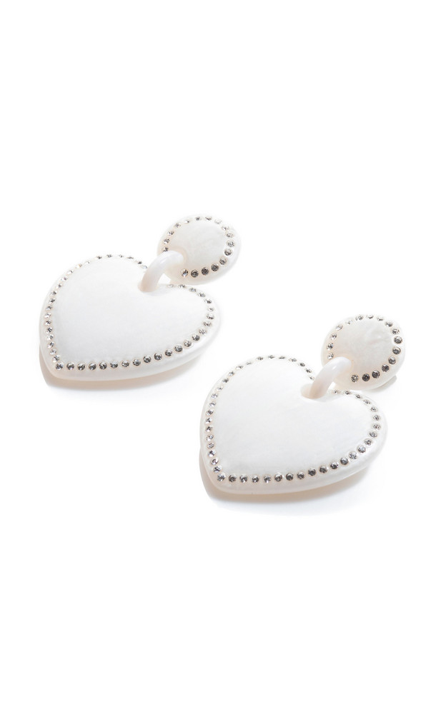 Lele Sadoughi Crystal-Embellished Acetate Heart-Shaped Earrings in white