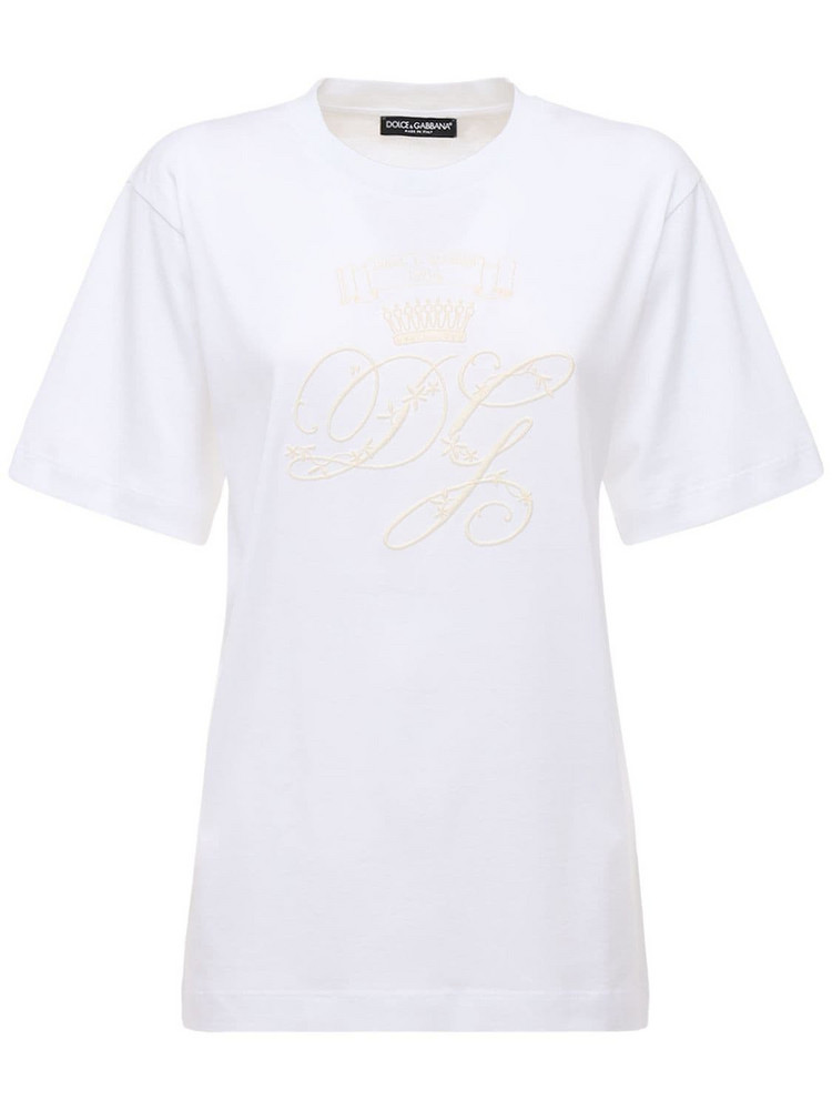 DOLCE & GABBANA Oversize Embroidered Logo Jersey T-shirt in white