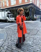 skirt,midi skirt,stripes,black boots,lace up boots,orange coat,wood,brown bag,handbag,black top