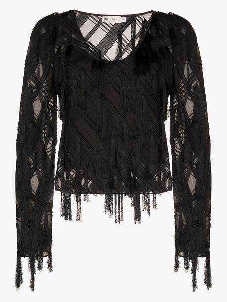 Xu Zhi checked appliqué long-sleeved top in black