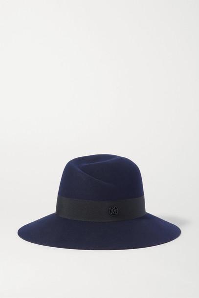 MAISON MICHEL - Virginie Grosgrain-trimmed Wool-felt Fedora - Blue