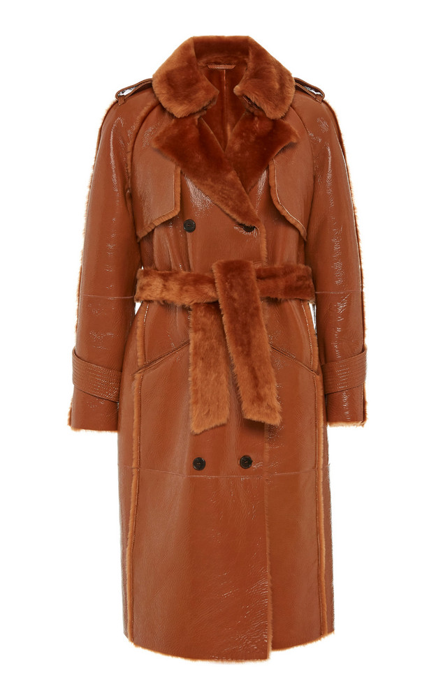 Common Leisure The One Shearling-Trimmed Vinyl Trench Coat in brown