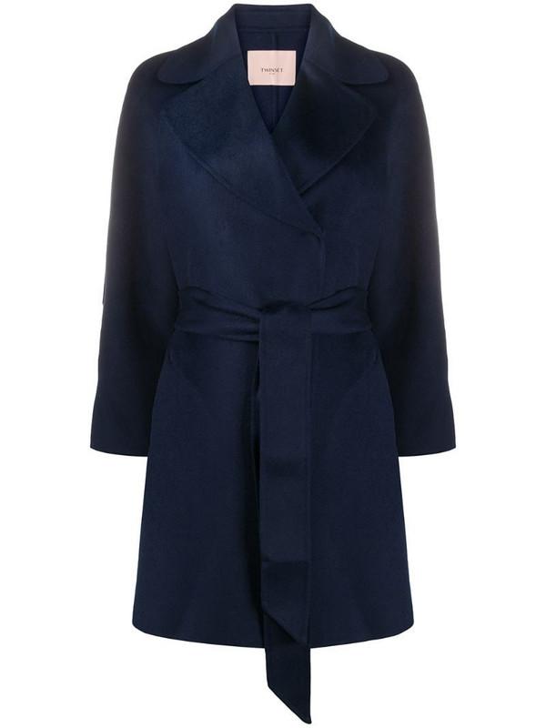 Twin-Set belted felt midi coat in blue